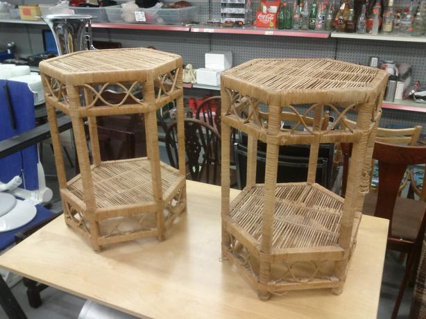 Pair of Wicker End Tables