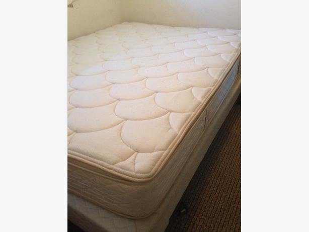 queen mattress, box spring, and frame