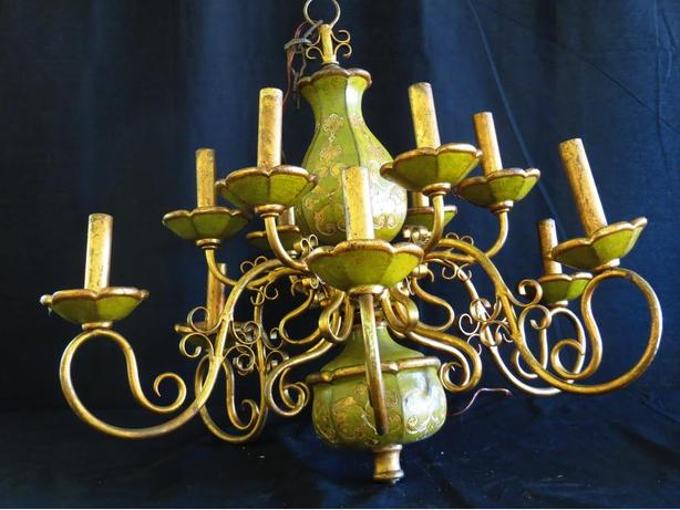 Spanish Wood Baroque 12 Branch Chandelier.
