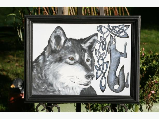 Celtic Black Wolf - Original Oil Painting