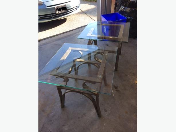 Glass Top With Metal Frame Side Tables