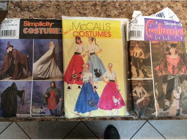 Halloween Costume Sewing Patterns $5 each