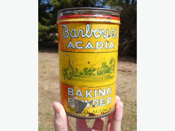 Vintage 1944's Barbour's Acadia Baking Powder Tin