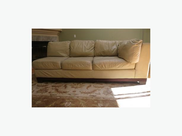 Cream Leather Couch.