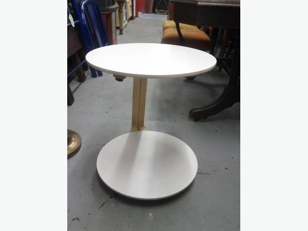 White Side Table on Casters