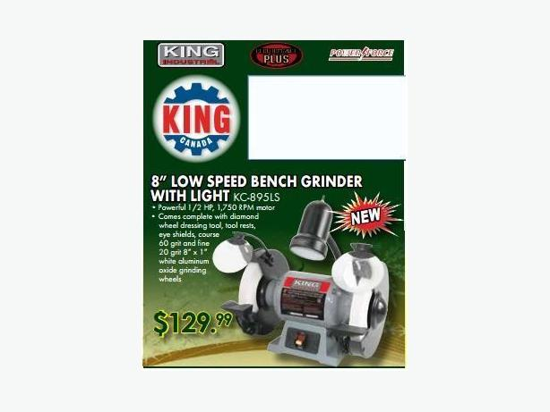 New King Canada 8 Quot Low Speed Bench Grinder With Light