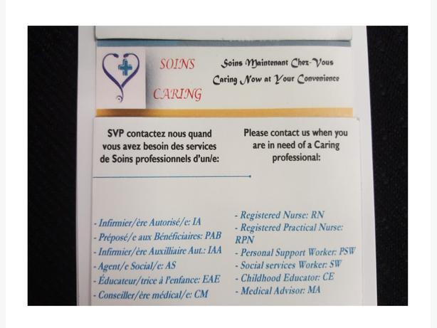 Soins de Santé chez-vous/ Home Care services at your Convenience.