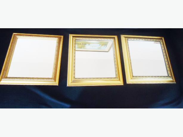 3 Small Square Gold Frame Mirrors - SOLD