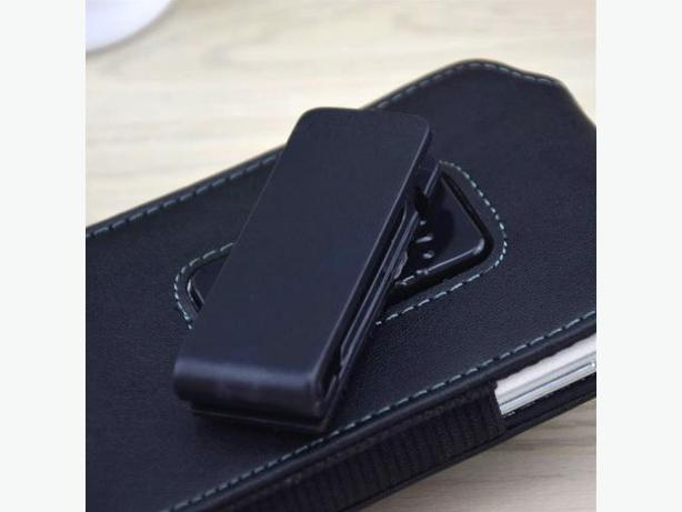 "Vertical Clip Holster Pouch 180 Degree Swival Leather Case for 5.2-5.7"" Phone"