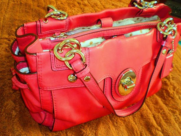 New Raspberry Leather Coach Purse