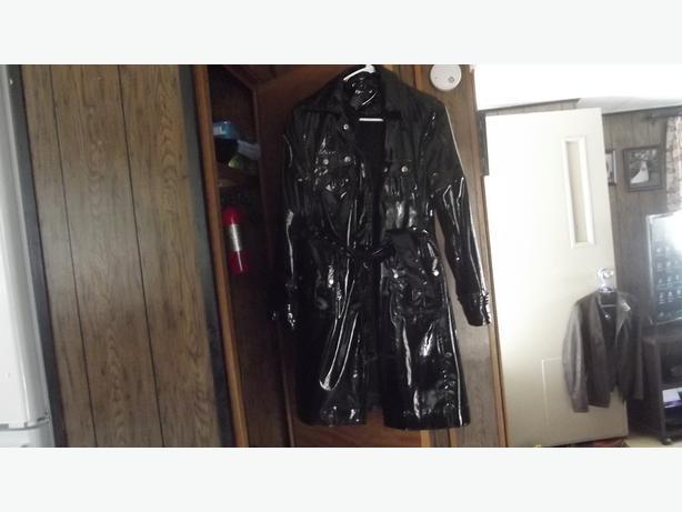 Black patent leather coat