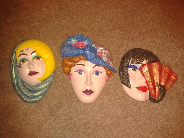 SET of 3 painted clay figurines