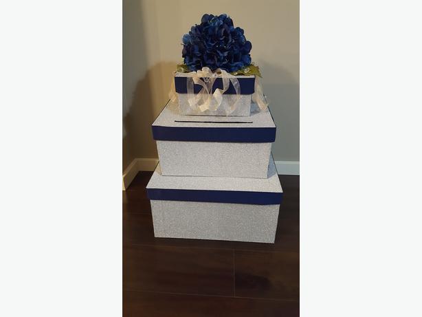 Wedding Card Box- Blue / Silver