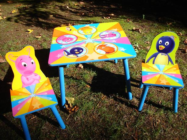 Wooden childrens' table and chairs