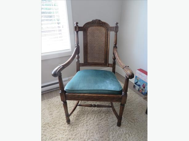 Hardwood Captain's chair, upholstered seat