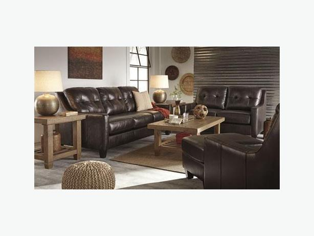 New Okean Top Grain Leather Mahogany Sofa Collection
