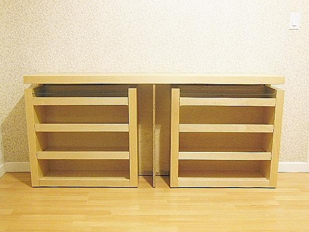 Ikea MALM Queen Size 3-pc Headboard / Bed Shelf Set - Birch