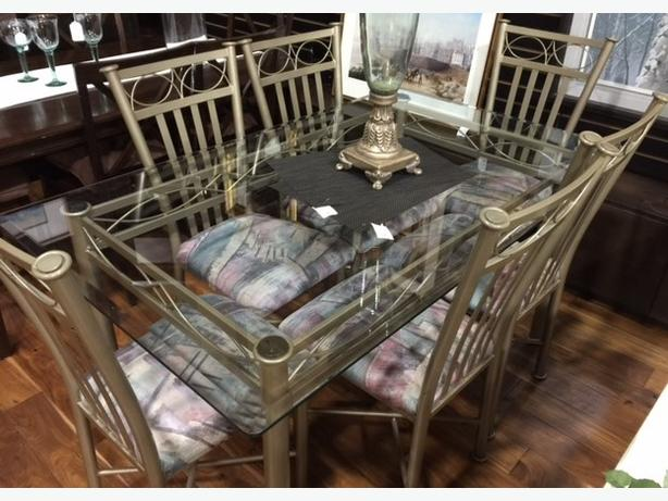 Brushed Metal & Glass Dining Table with 6 Chairs