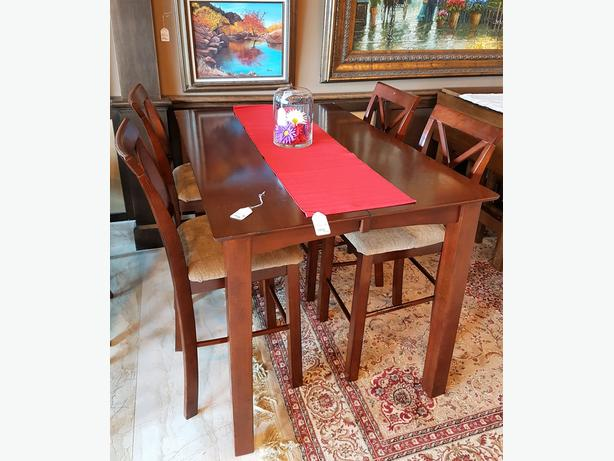 Counter height wood table with 4 chairs 1 leaf south for Furniture exchange