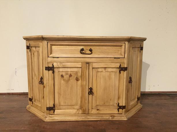 Rustic pine corner tv stand meuble rustique en coin pour for Meuble country corner