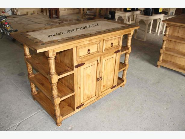 Rustic kitchen island with marble top - ilot cuisine rustique
