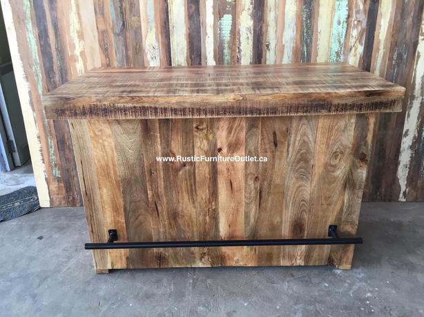îlot cuisine ou Bar rustique bois solide avec portes de grange