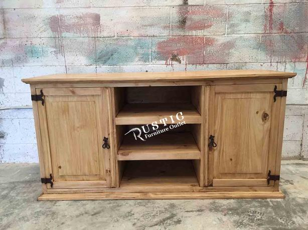 Rustic Pine Honey 3 shelf TV stand