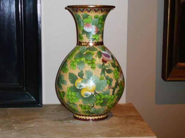 Cloisonne vase.yellow-green