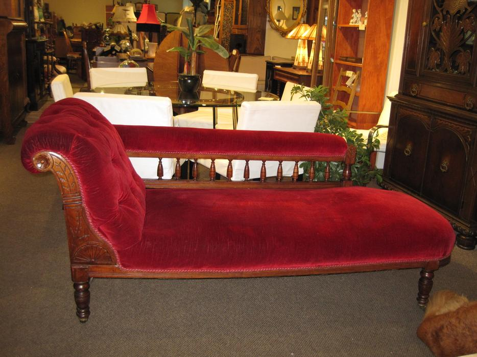 Beautiful antique burgundy chaise lounge at charmaine 39 s for Burgundy chaise lounge