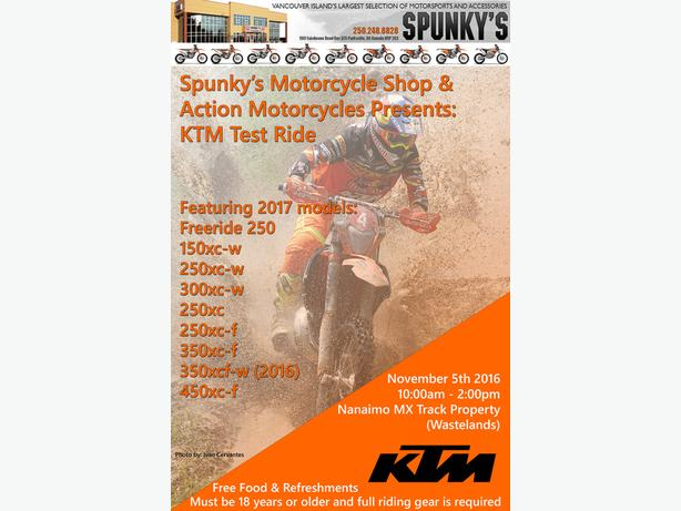 KTM Test Ride November 5th 2016