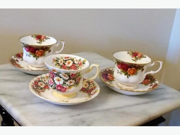 CHOICE OF ROYAL ALBERT CUPS AND SAUCERS