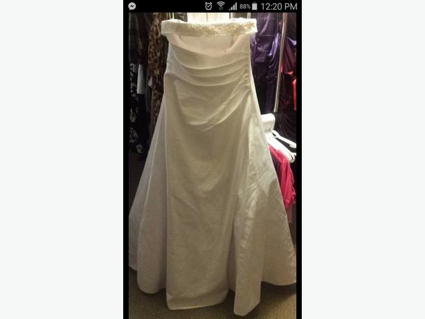 Size 14 white strapless wedding dress