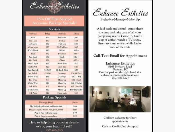15% Off First Service with Enhance Esthetics!
