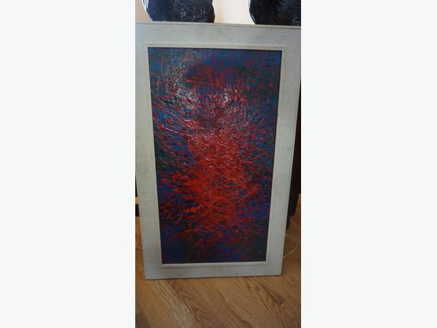 4U2C VINTAGE 1960's ABSTRACT OIL ON BOARD THICK PAINT SIGNED A.W 66