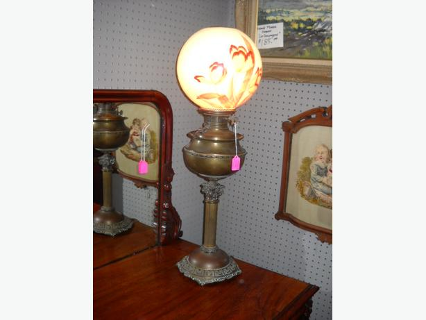 4U2C ANTIQUE BRADELY AND HUBBARD ELECTRIFIED OIL LAMP
