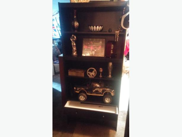 BLACK DISPLAY /BOOK UNIT/ENTERTAINMENT UNIT/HAS THREE DRAWS AT BOTTOM