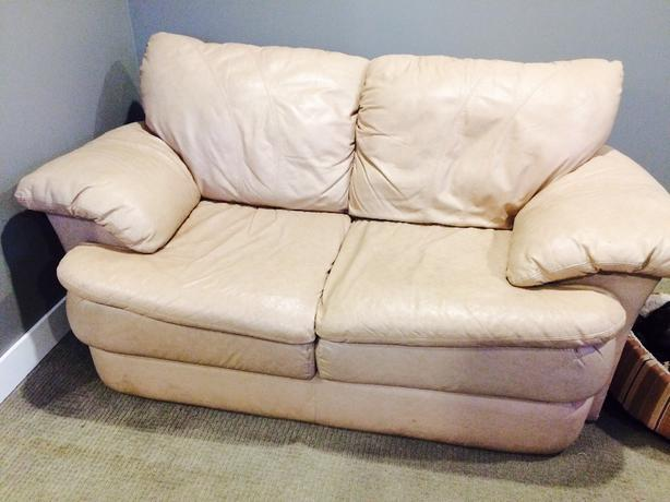 Tan Leather Love Seat-OBO