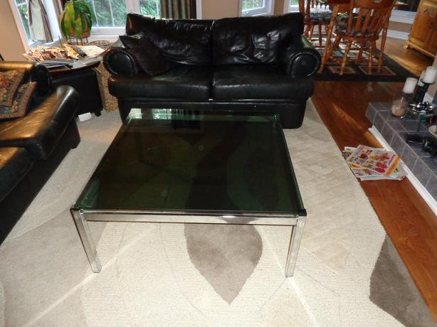 Glass coffee Table and Glass end Table chrome