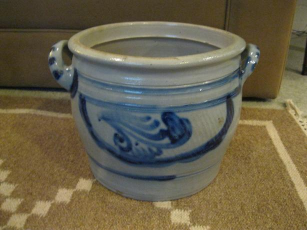 Grey and Blue Vintage Crock
