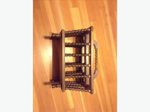 Vintage all wood magazine rack