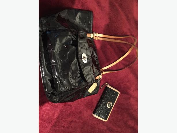 COACH Black Patent Leather Tote & Matching Wallet