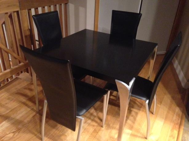 Modern Dining Set with 4 leather chairs (will sell chairs separately)