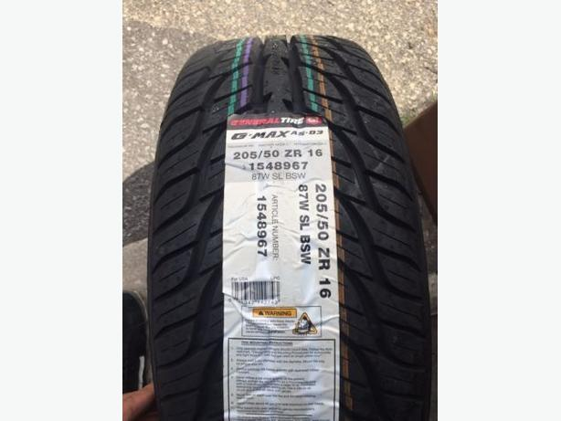NEW 205/50/R16 General G-Max AS-03 All Season tires!!