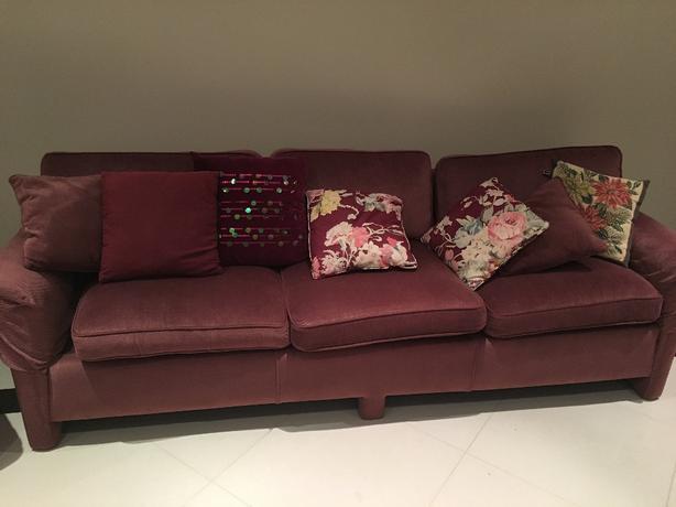 pink fabric sofa