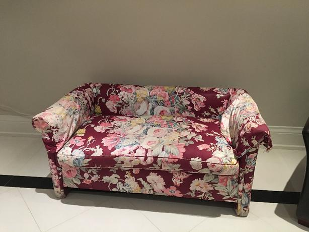 flower print loveseat