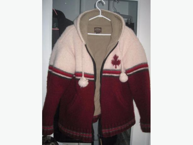 Knitted Nepal Woolen Fleece Zippered Hooded Sweater - Size XL