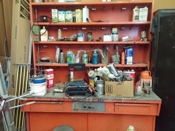 Motorized Paint Mixing Bench with storage