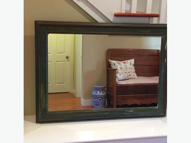 "43"" x 31"" Rustic Painted Vintage Mirror"