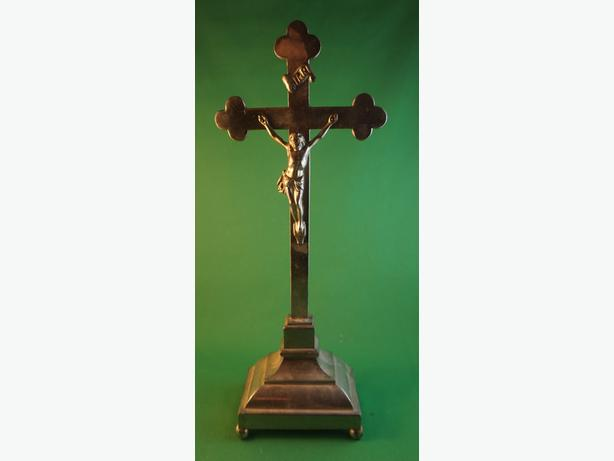 4u2c ANTIQUE RELIGIOUS CRUCIFIX CROSS STAND EARLY 19 CENTURY