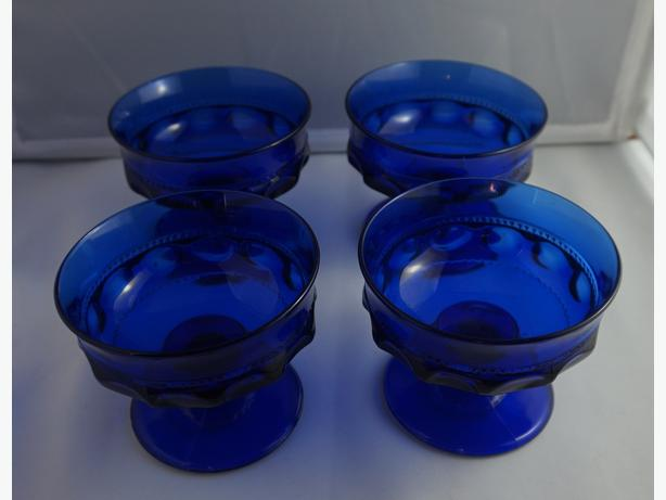4U2C COBALT BLUE KINGS CROWN INDIANA THUMBPRINT SHERBET DESERT